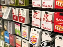 Gift card display in a store