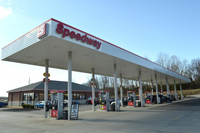 Exterior of a Speedway gas station
