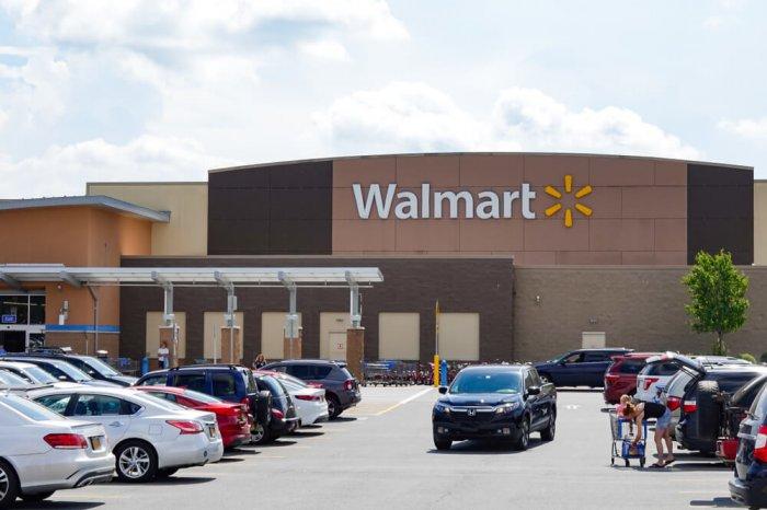 Cars in a Walmart parking lot