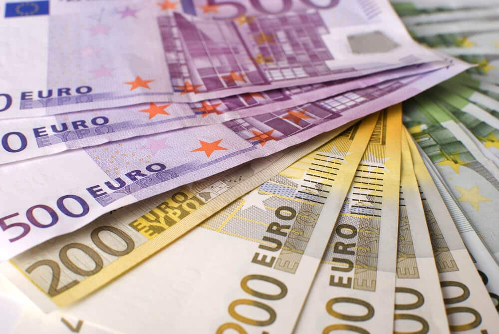 Euro banknotes in several denominations