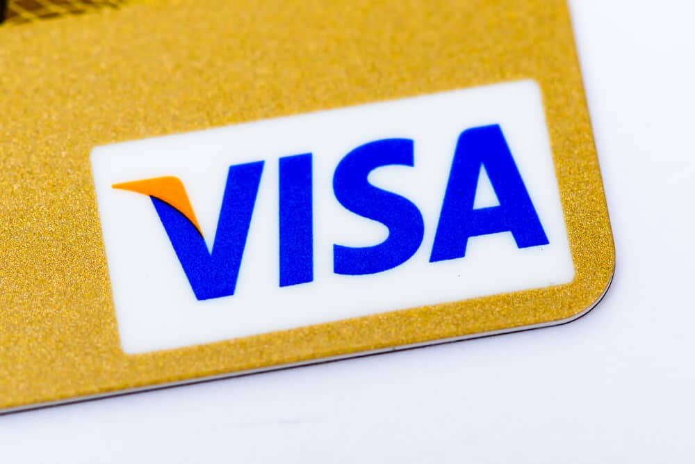 Visa logo on the bottom right corner of a gift card
