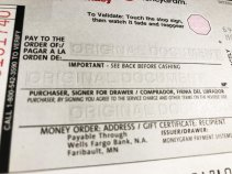 Unfilled MoneyGram money order