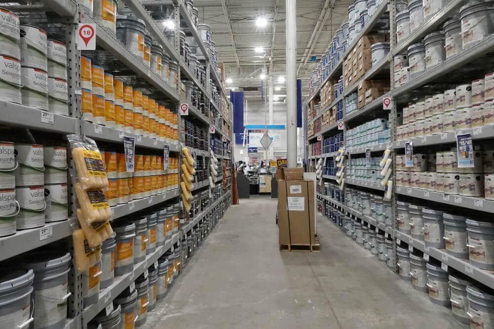 Lowe's paint aisle