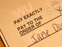 Close-up of a Western Union money order