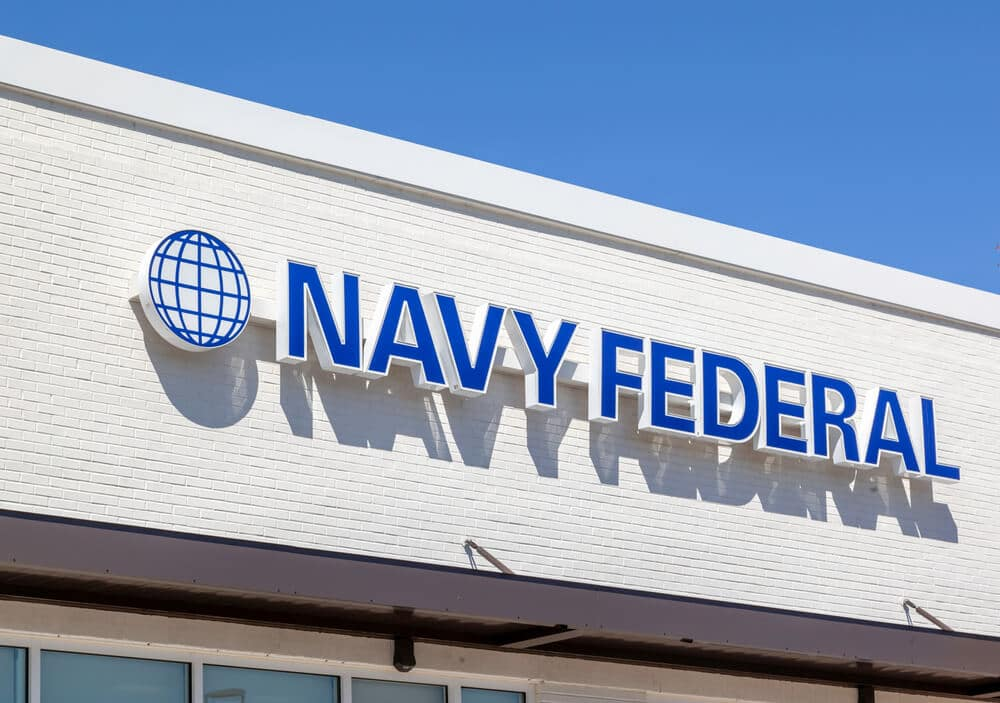 Logo sign on the outside of a Navy Federal branch