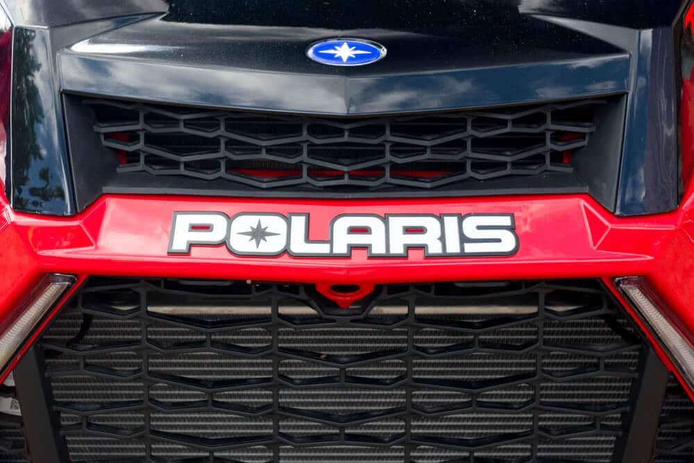 Polaris logo on the front of a Polaris ATV