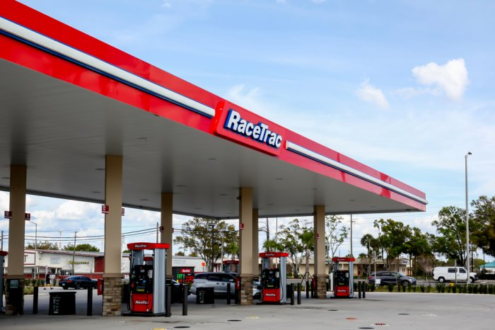 Exterior of a RaceTrac gas station