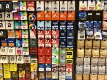 Display of gift cards from various brands