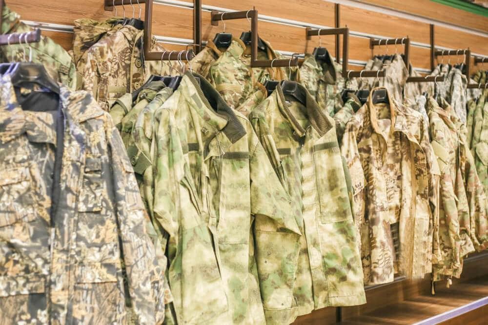 Hunting jackets on display