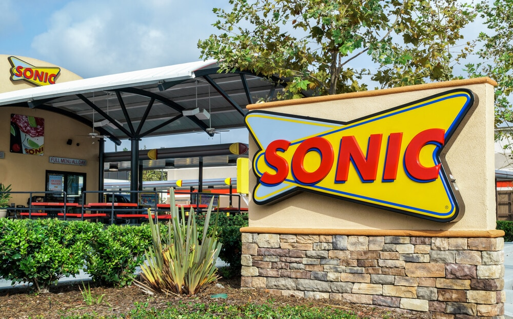 Sonic sign in front of the drive-in restaurant