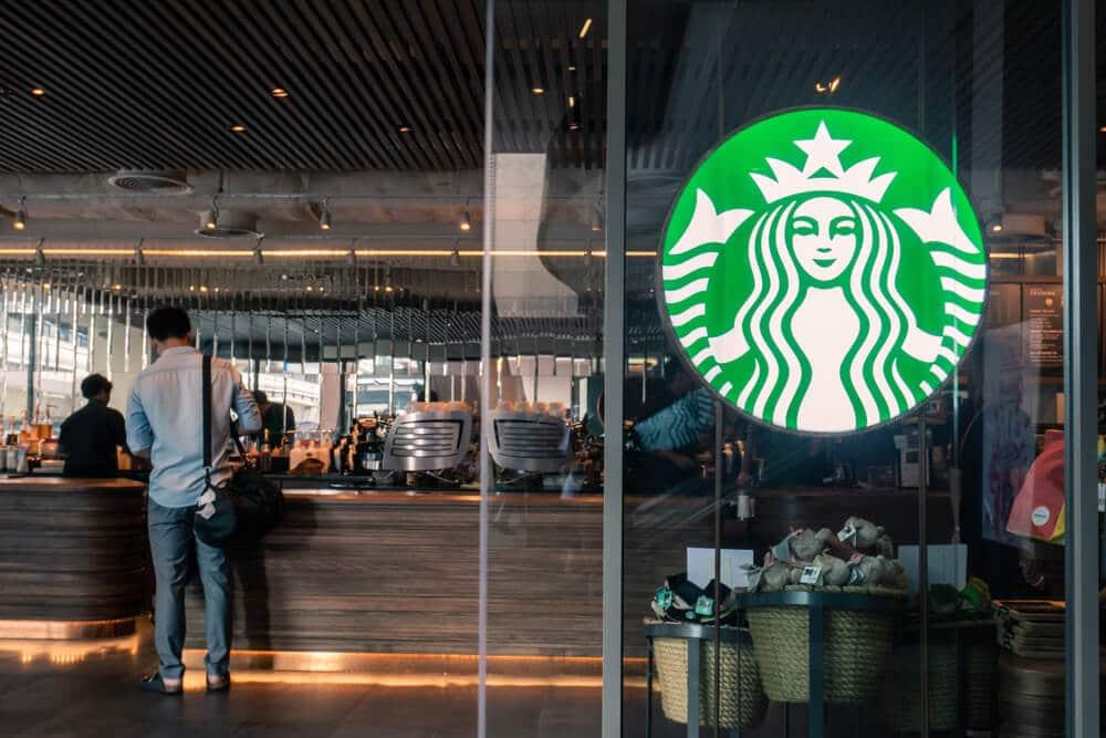 Starbucks logo and counter