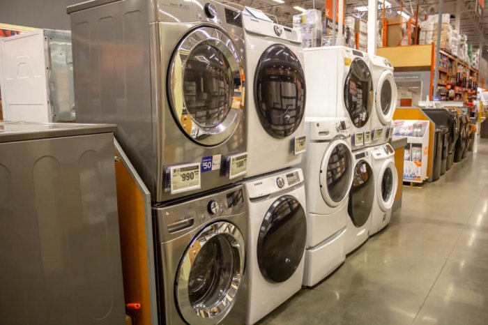 Washers and dryers on display at The Home Depot