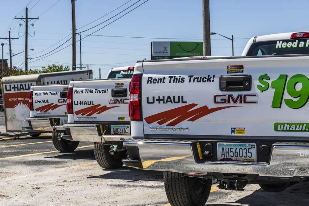 U-Haul pickup trucks in a lot