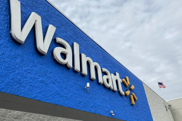 Walmart logo sign on the exterior of a store