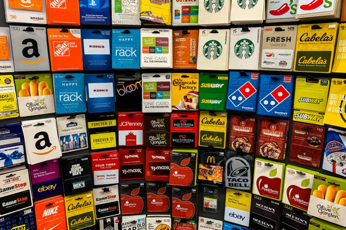Display of gift cards for sale at a supermarket