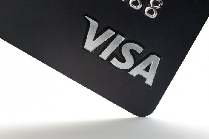 Visa logo on a card