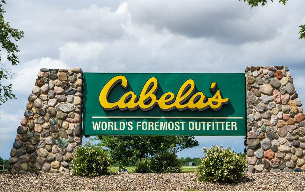 Cabela's sign outside of a store.