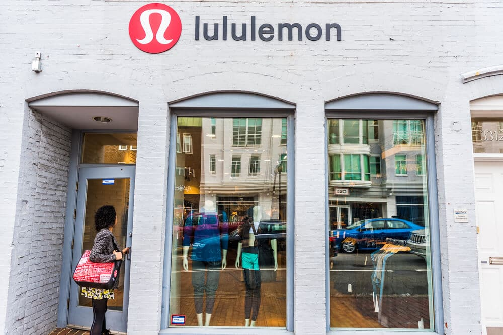 Woman entering lululemon store