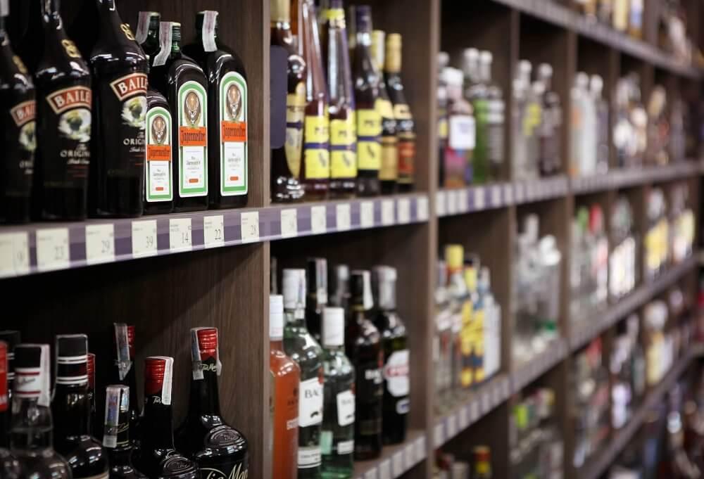 stocked liquor store shelves