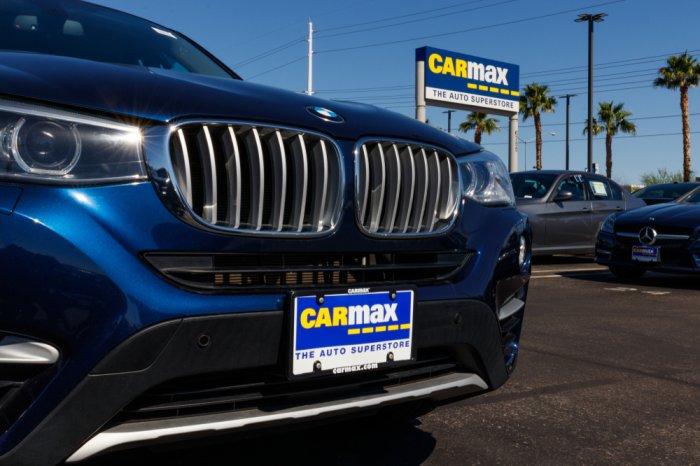 blue car on CarMax lot
