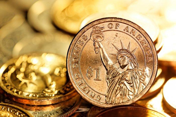 closeup of U.S. $1 gold coins